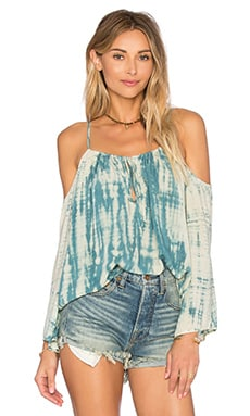 Open Shoulder Top in Aqua Riptide