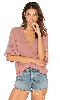 Waterfall Blouse en Rose Solid