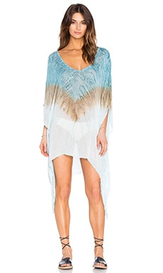 Blue Life V Neck Cape Cool Cover Up in Blue Coral Reef