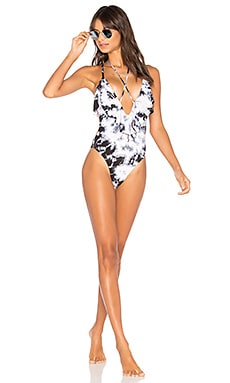 Ruffled Romance One Piece in Black Orchid Tie Dye