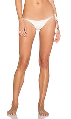 Blue Life Tribal Tie Side Bikini Bottom in White Sands