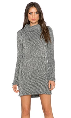Bella Luxx Funnel Neck Sweater Dress in Black & White