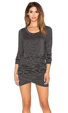 Bella Luxx Long Sleeve Shirred Mini Dress in Hamburg Stripe