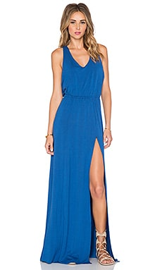 Bella Luxx Open Back Maxi Dress in Lapis Blue Heather