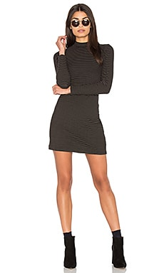 Stripe Rib Mock Neck Mini Dress in Black & Olive