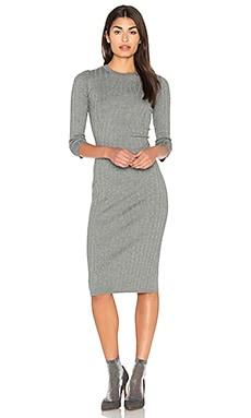 Crossed Rib Sweater Dress in Heather Grey