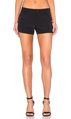 Flat Front Trouser Short in Black
