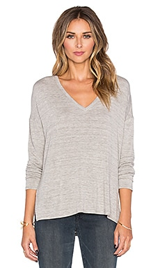 Bella Luxx Oversized V-Neck Sweater in Cement Heather