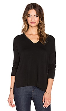 Bella Luxx Oversized V-Neck Sweater in Black