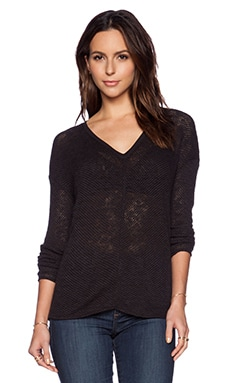 Bella Luxx Seamed Front V Neck Sweater in Black