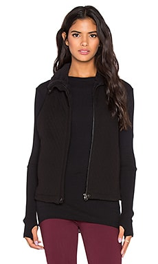 Bella Luxx Funnel Neck Quilted Vest in Black