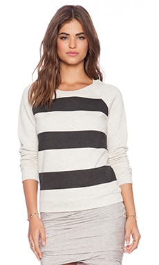Bella Luxx Stripe Raglan Pullover in Cream Heather & Black