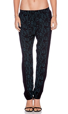 Bella Luxx Relaxed Fit Pant in Midnight Teal Python