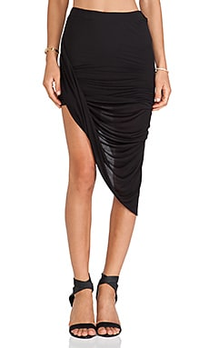Bella Luxx Twisted Side Drape Skirt in Black