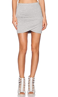 Bella Luxx Shirred Cross Front Skirt in Heather Grey