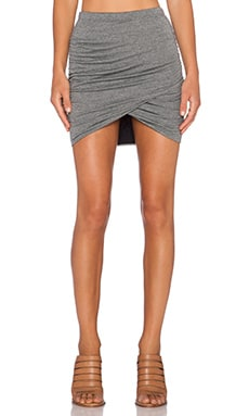 Bella Luxx Shirred Cross Front Skirt in Black Static