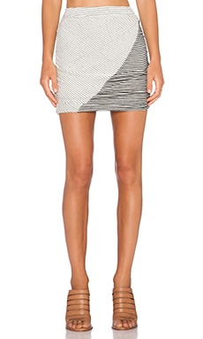 Bella Luxx Asymmetrical Mini Skirt in Natural & Black