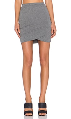 Bella Luxx Shirred Cross Front Mini Skirt in Steel Heather