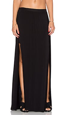 Bella Luxx Paneled Maxi Skirt in Black