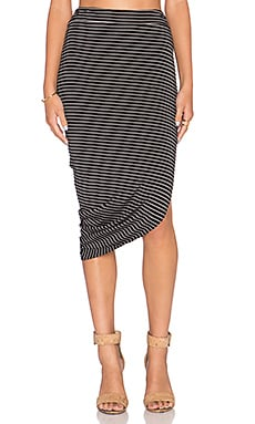 Bella Luxx Asymmetrical Drape Midi Skirt in Hamburg Stripe