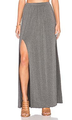 Bella Luxx Paneled Maxi Skirt in Steel Heather