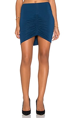Bella Luxx Front Shirred Mini Skirt in Midnight Blue