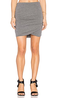 Bella Luxx Shirred Cross Front Skirt in Steel Heather