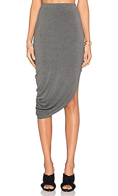 Bella Luxx Asymmetrical Drape Maxi Skirt in Steel Heather