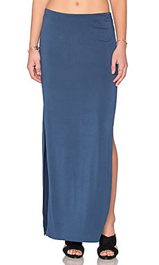 Bella Luxx Side Split Maxi Skirt in Washed Indigo