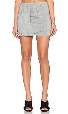 Side Drape Mini Skirt in Heather Grey