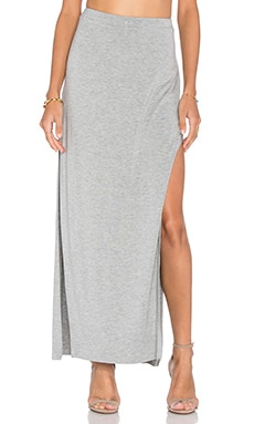 Side Split Maxi Skirt en Gris Chiné