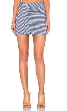 Side Drape Mini Skirt in Quito Stripe