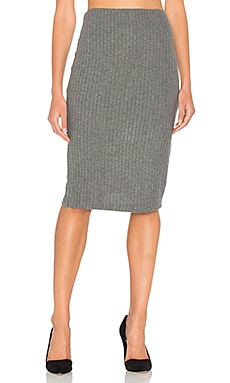 Plush Rib Tube Skirt in Heather Grey