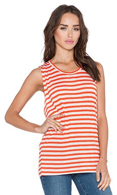 Bella Luxx Side Drape Muscle Tank in Darwin Stripe