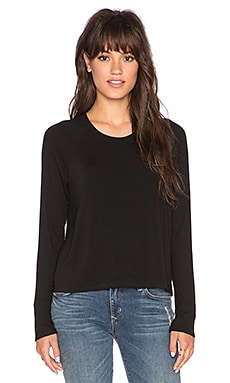 Bella Luxx Rib Sleeve Raglan in Black