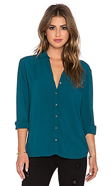 Bella Luxx Oversized Seam Button Up Top in Spruce Green