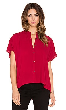 Bella Luxx Pleat Back Button Up in Cranberry