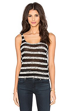 Mesh Stripe Tank in Black & Marled