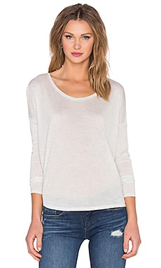 Long Sleeve Circle Top in Weißgrau meliert