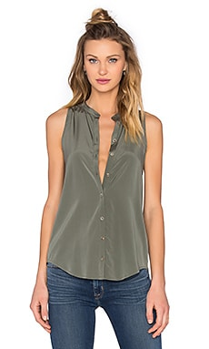 Pleat Back Button Up Tank in Willow Green