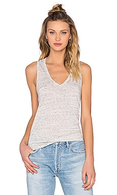 V Neck Racerback Tank in White Marble
