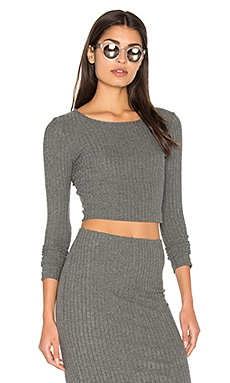 Plush Rib Long Sleeve Crop Top en Gris Chiné