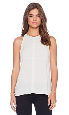 Bella Luxx Seamed Woven Tank in Silver