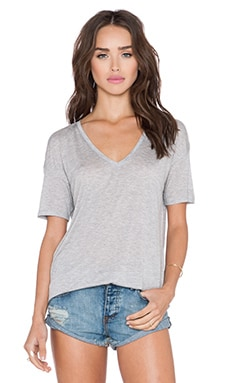 Bella Luxx V Neck Tee in Heather Grey