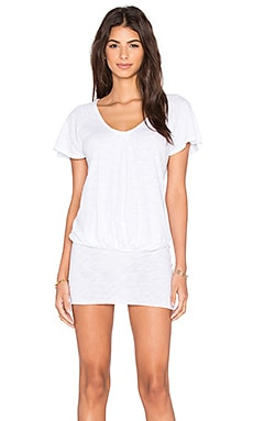 Bobi Cotton Slub Scoop Neck Tunic in White