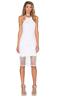 Bobi Pima Cotton High Neck Midi Dress in White