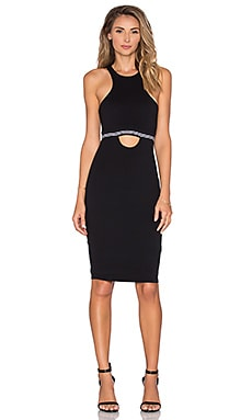 Bobi Pima Cotton Cut Out Midi Dress in Black