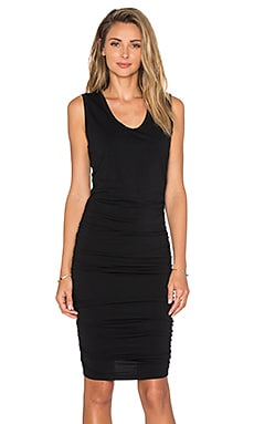 Bobi Relaxed Dress Jersey Ruched Mini Dress in Black