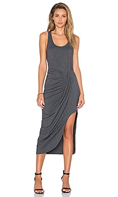 Relaxed Dress Jersey Asymmetrical Maxi Dress in Dark Grey