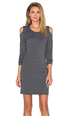 Bobi Relaxed Dress Jersey Cold Shoulder Long Sleeve Mini Dress in Dark Grey